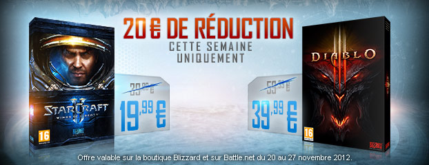 Économisez 20 € sur Diablo III et StarCraft II: Wings of Liberty