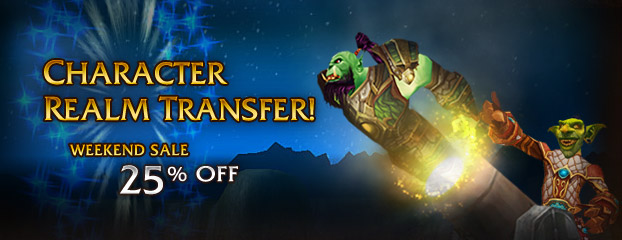 Weekend Sale -- 25% Off Character Transfer