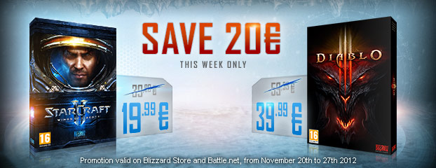Save 20 € on Diablo III and StarCraft II: Wings of Liberty