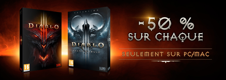 Diablo III et son extension Reaper of Souls à -50 % !