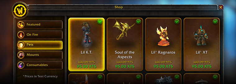 Shop for Pets and Mounts In-Game!