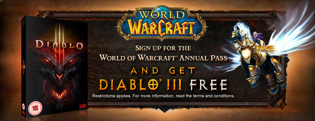Sign Up for the World of Warcraft Annual Pass and Get Diablo III Free