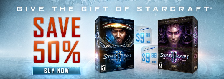 BLIZZARD BLACK FRIDAY OFFER – Save 50% on StarCraft® II: Wings of Liberty™ and StarCraft® II: Heart of Swarm™