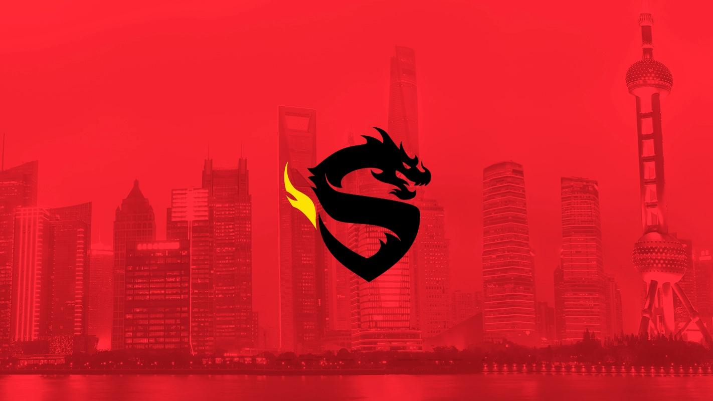 Shanghai Dragons logo over the Shanghai skyline