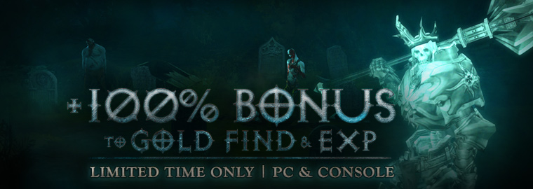 +100% Bonus Gold Find and EXP – Happy Halloween!