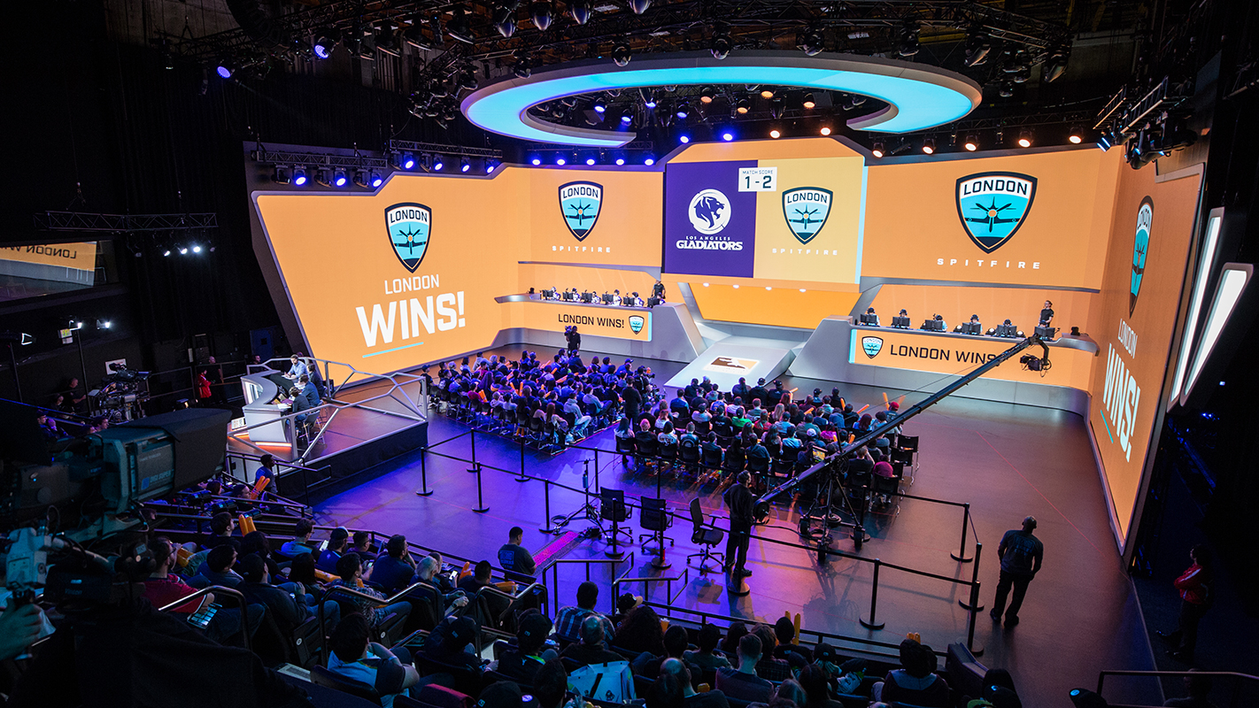 A match at the Overwatch League Burbank studios