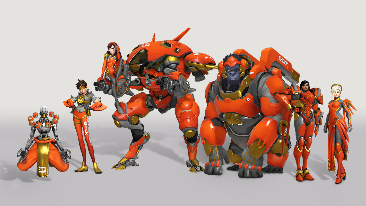 Overwatch heroes in San Francisco Shock skins