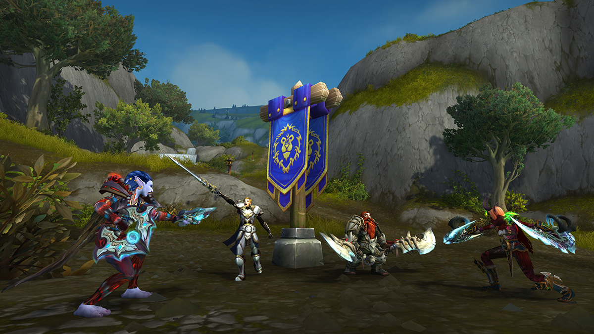 Two Alliance and Two Horde Fighting over the Alliance Controlled Capture Point