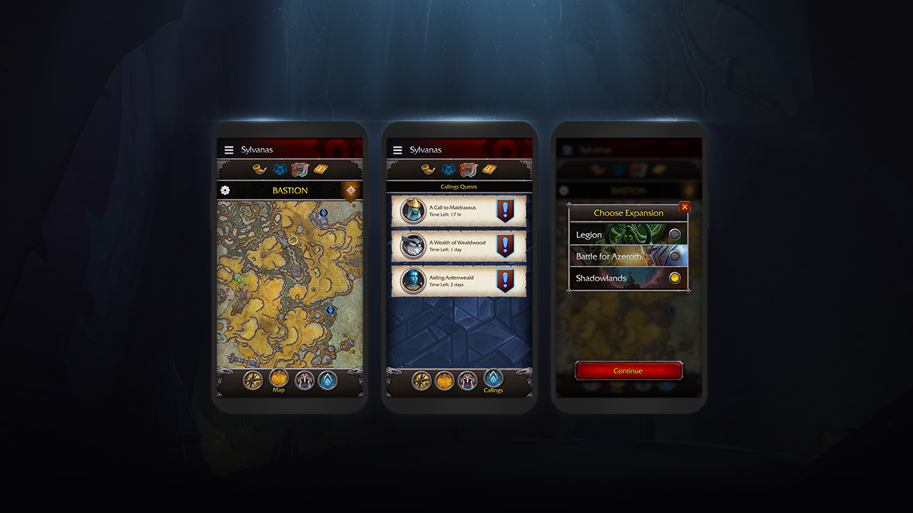 Map, Callings, and Expansion Selection Screens on a Phone