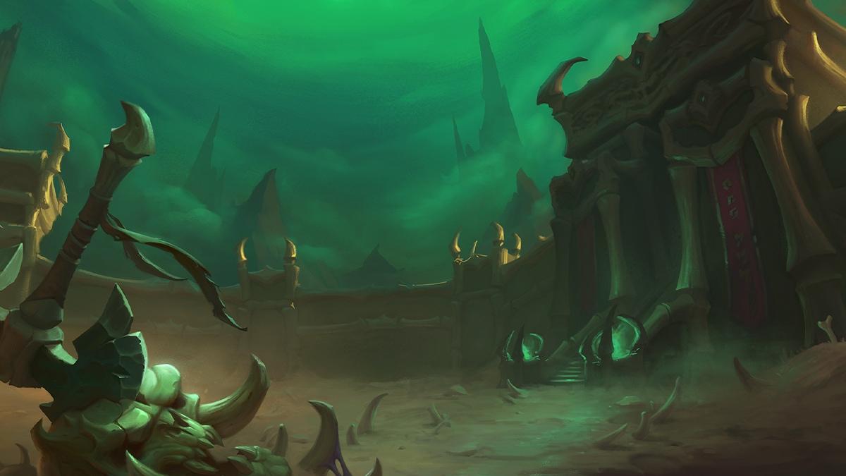 """Bild: Der Dungeon """"Das Theater der Schmerzen"""" unter einem grünen Himmel. Im Vordergrund sieht man eine in einen Schädel gerammte Axt."""