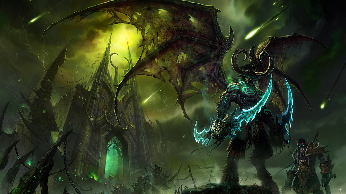 Illidan with Warglaives Standing in Front of the Black Temple with Akama