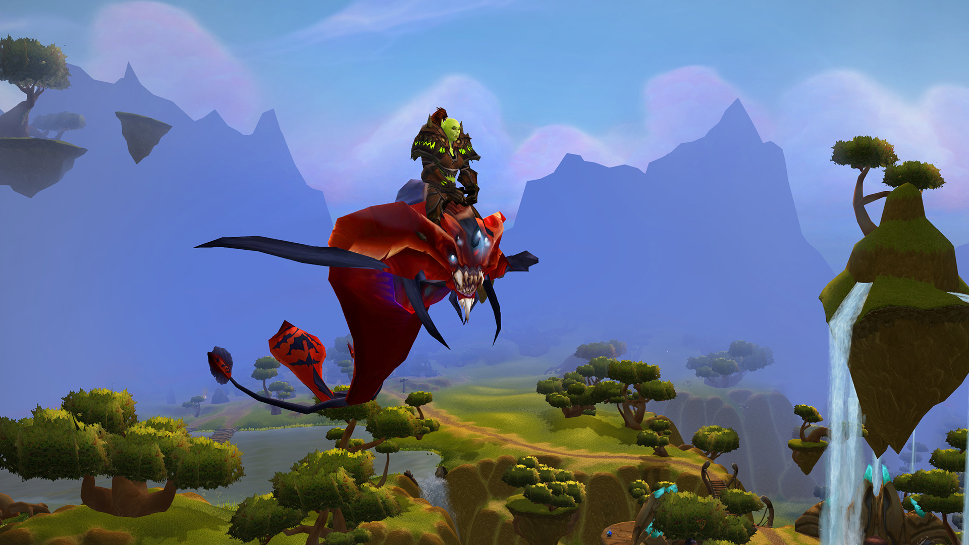 Female Orc on Flying Mount Above Nagrand