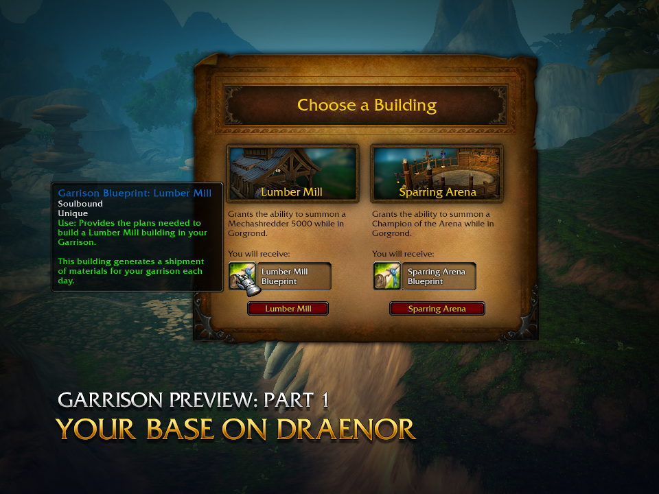 Garrison preview part 1 your base on draenor wow you can choose either the lumber mill or the sparring arena while questing in gorgrond not only does this choice unlock the design blueprints that malvernweather Images