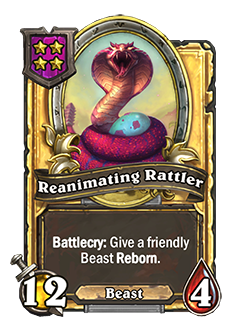 Golden Reanimating Rattler has double attack and health with the same battlecry as the regular version.