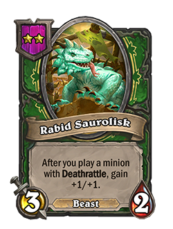 Rabid Saurolist new 3 attack 2 health tier 2