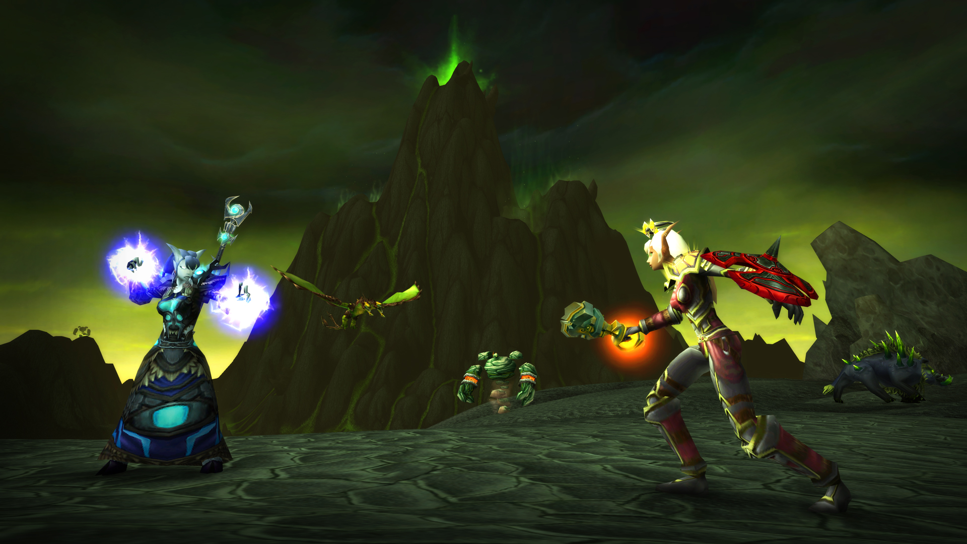 Draenei Shaman and Blood Elf Paladin Facing Off