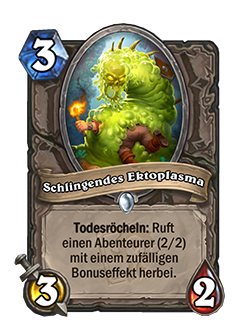 Devouring Ectoplasm is a 3 cost, 3 attack, 2 health neutral common minion with a deathrattle that reads Summon a 2/2 Adventurer with a random bonus effect.