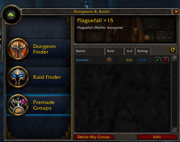 UI Showing a Group Candidate Overall Mythic+ Rating and Gear Score