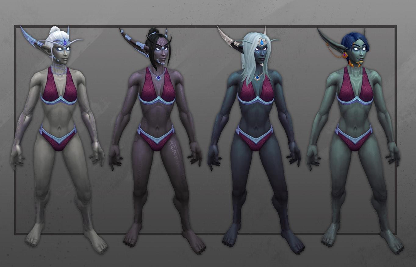 Vista frontal de varias elfas del Vacío con nuevas opciones de personalización