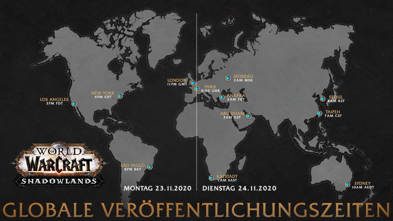 Zeitplan für die weltweite Veröffentlichung von Shadowlands