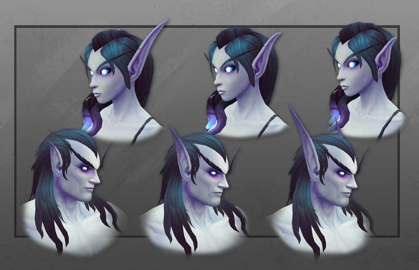 Primeros planos de elfos del Vacío masculinos y femeninos con nuevas opciones de personalización de orejas