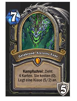 Galakrond, Azeroths Ende hat vorher 4 Karten gezogen, die 0 kosten.