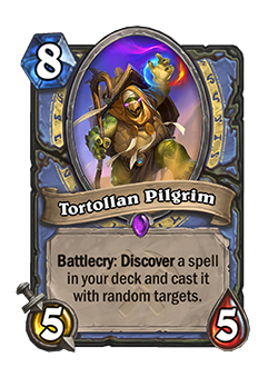new tortollan pilgrim's battlecry reads Discover a spell in your deck and cast it with random targets.