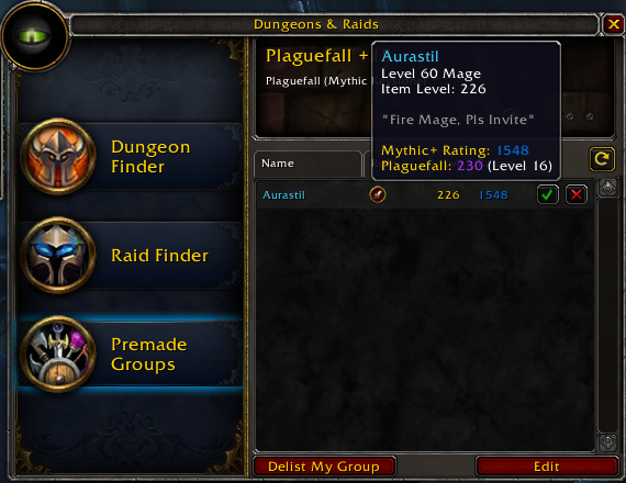 UI Showing the Tooltip for a Group Candidate Overall Mythic+ Rating and Gear Score and Rating for Plaguefall