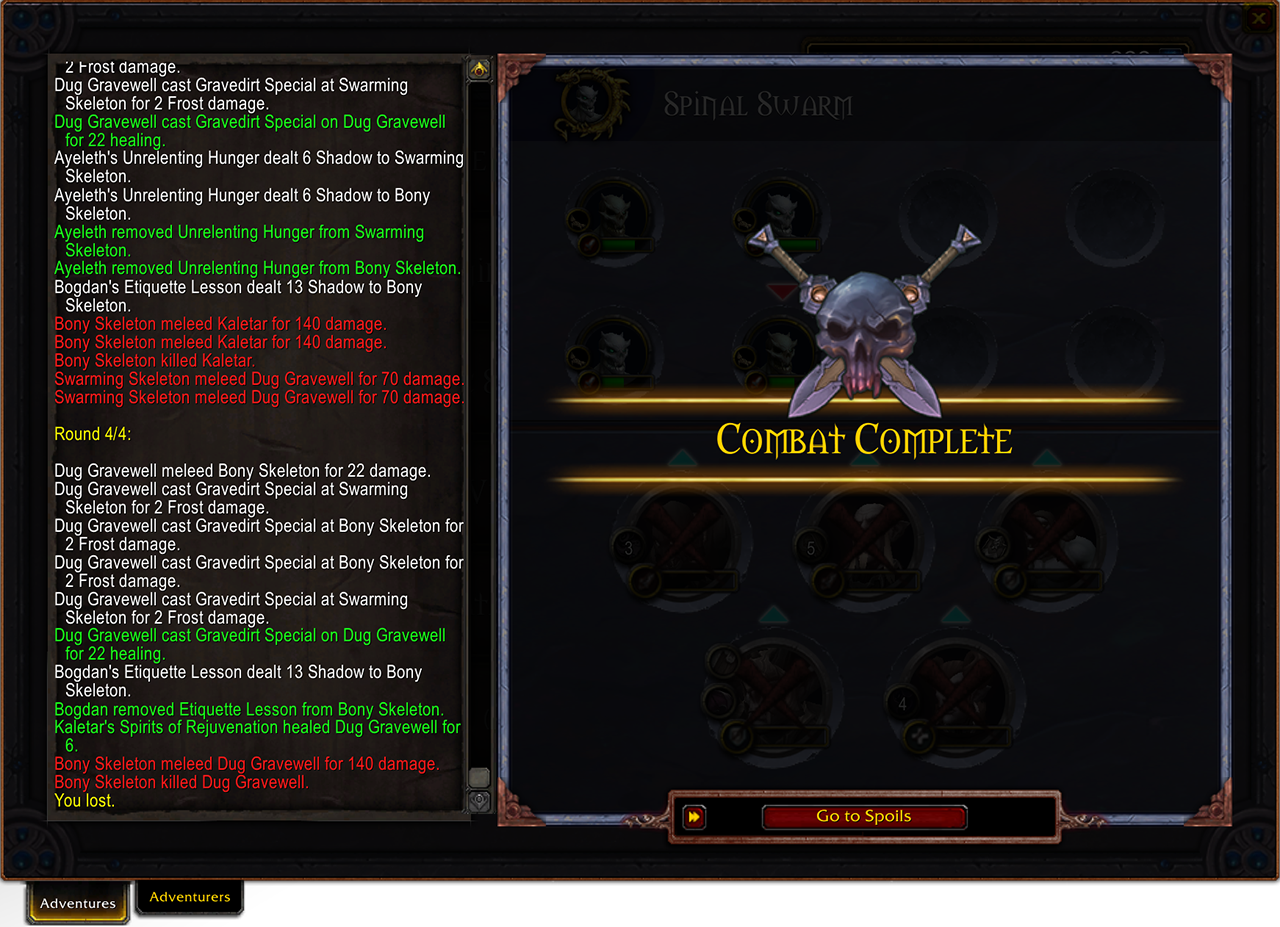 Adventures Combat Complete Screen