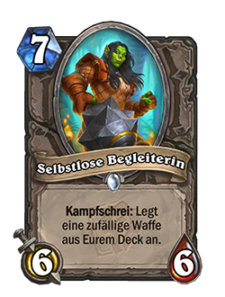 Selfless Sidekick is a 7 mana 6 attack 6 health neutral common minion with a battlecry that reads equip a random weapon from your deck.