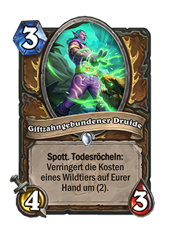 Fangbound Druid is a common 3 mana, 4 attack, 3 health druid minion with taunt and card text that reads deathrattle: reduce the cost of a beast in your hand by (2)