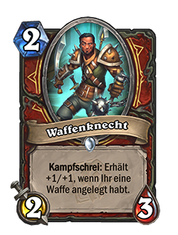 Man at Arms is a 2 mana, 2 attack, 3 health common Warrior minion with a battlecry that reads if you have a weapon equipped, gain +1/+1.