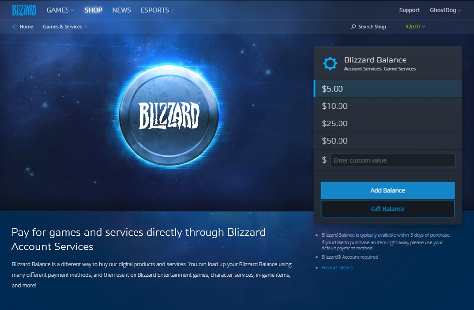 Blizzard Balance Gifting Now Available All News Blizzard News