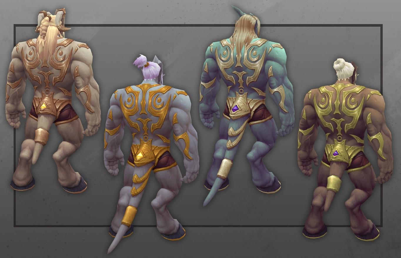Vista posterior de varios draenei templeluz masculinos con nuevas opciones de personalización