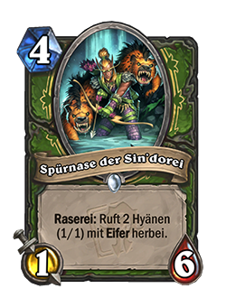 Sindorei Scentfinder is a 4 mana 1 attack 6 health hunter common minion with card text that reads Frenzy summon 4 1/1 Hyenas with Rush.