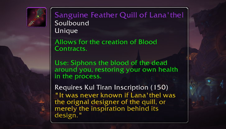 Sanguine Feather Quill of Lana'thel