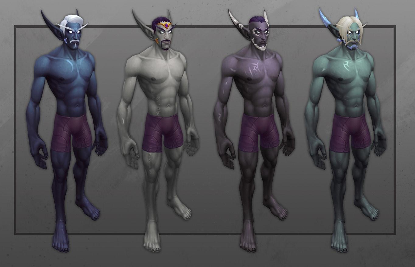 Vista frontal de varios elfos del Vacío con nuevas opciones de personalización