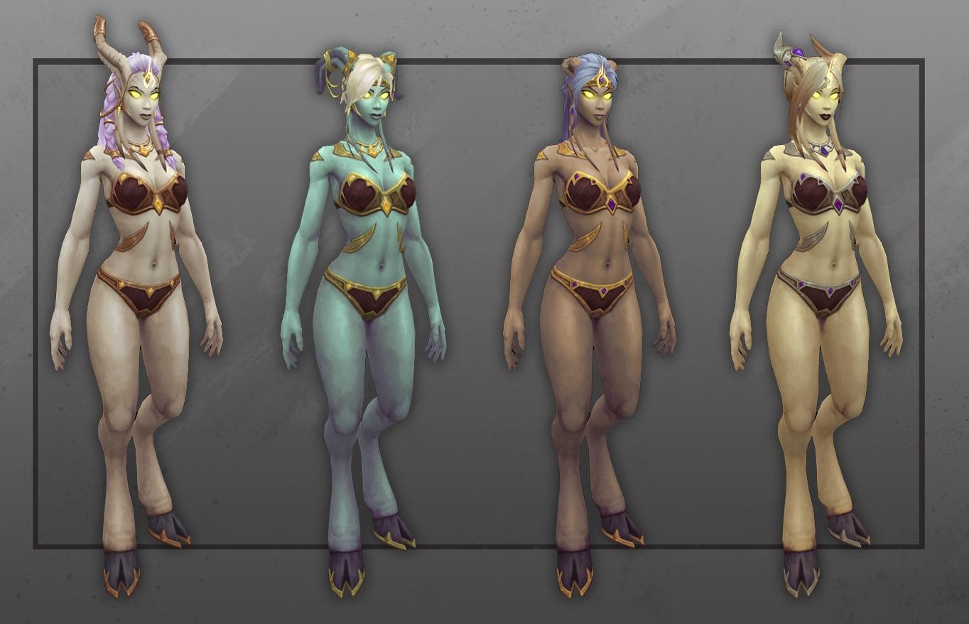 Vista frontal de varias draenei templeluz femeninas con nuevas opciones de personalización