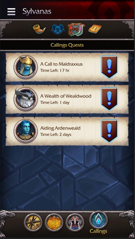 Callings Quest Listing