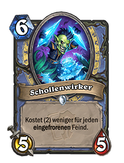 Floecaster is a 6 mana 5 attack 5 health common mage minion that has card text that reads Costs (2) less for each Frozen enemy.