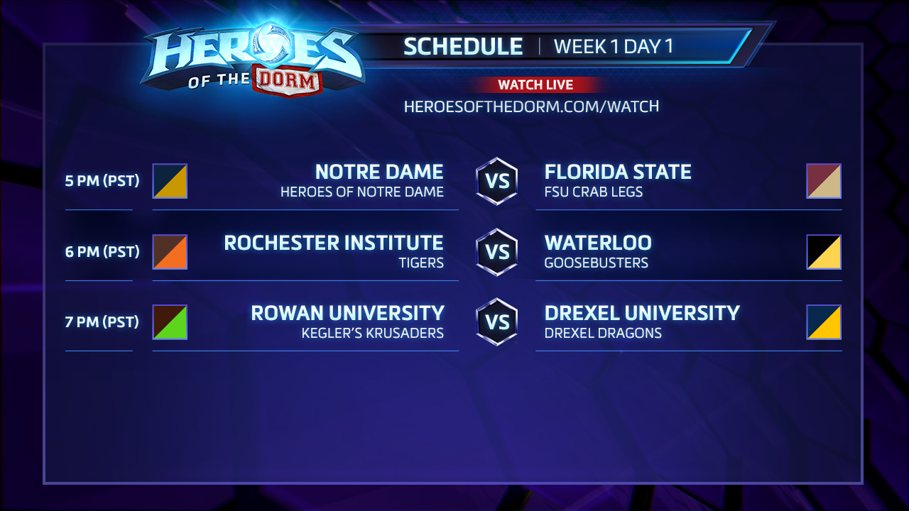 Heroes of the Dorm - Broadcast Schedule Week 1