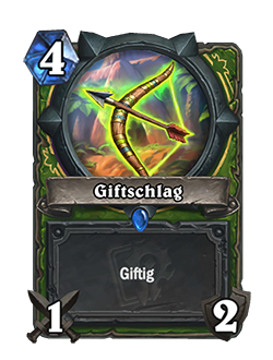 Venomstrike Bow is a 4 mana 1 attack 2 durability rare hunter weapon that reads poisonous