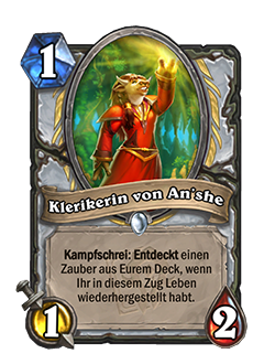 Cleric of Anshe is a 1 mana, 1 attack, 2 health common priest minion with a Battlecry that reads if you've restored Health this turn, Discover a spell from your deck.