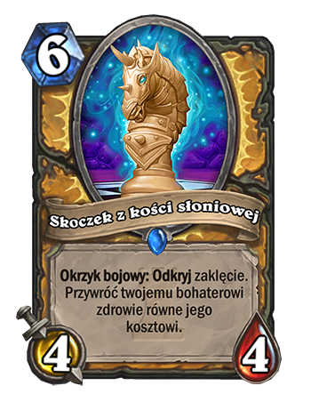 Ivory Knight - Minion: 6/4/4 - Battlecry: Discover a spell. Restore Health to your hero equal to its Cost.