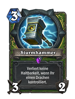 Der neue Sturmhammer hat den typischen grünen Rahmen für das Bild und den Text, wie auch die anderen Jägerklassenkarten.