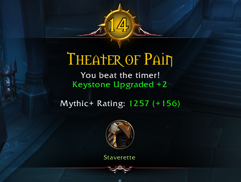 Reward UI showing a Keystone UPgrade and Increase for Mythic+ Rating Earned