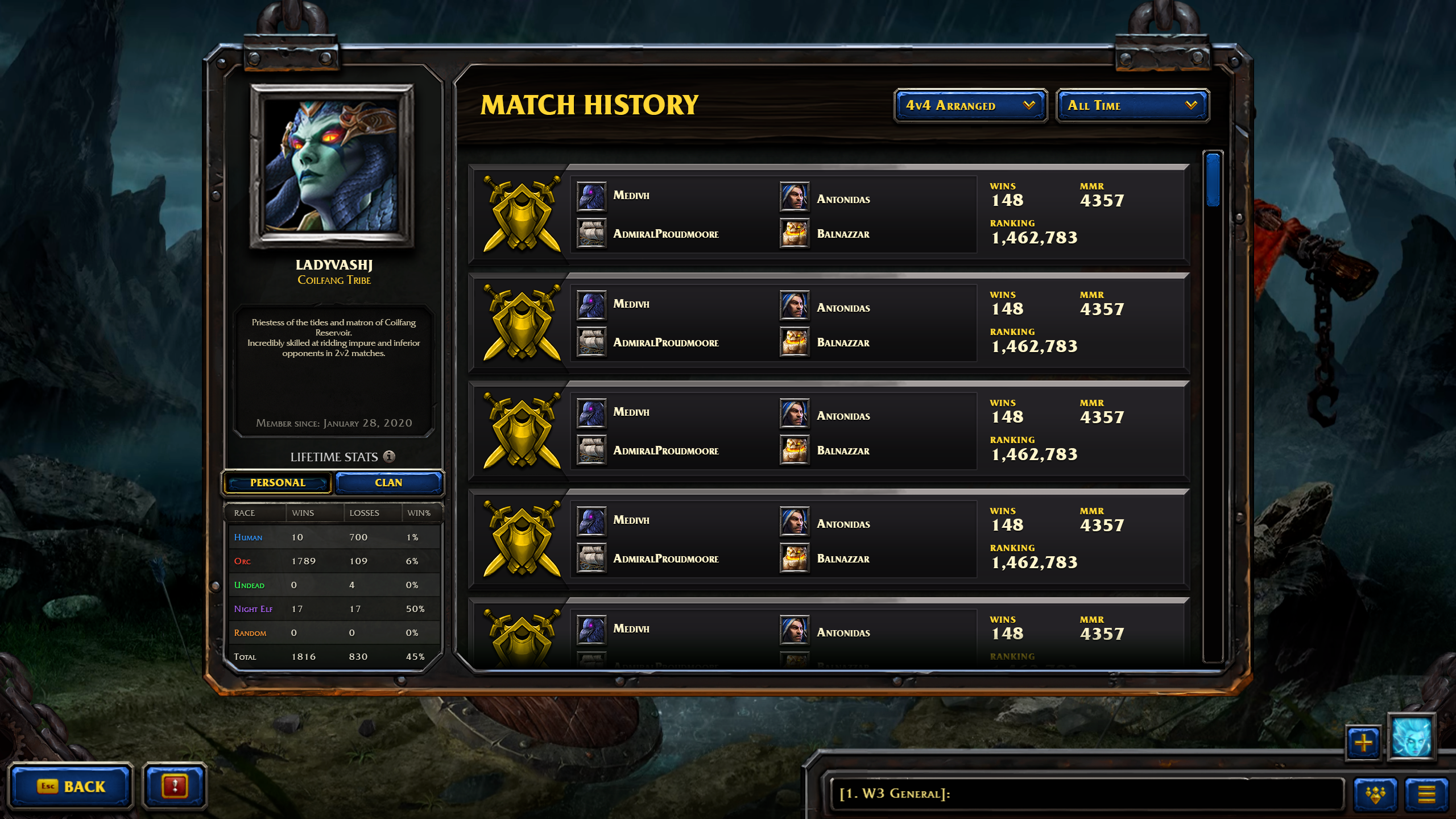 Work in Progress 4 Versus 4 Match History Screen