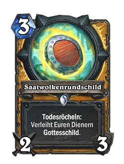 Seedcloud Buckler is a 3 mana 2 Attack 3 Durability common Paladin weapon that reads deathrattle: Give your minions Divine Shield