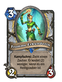 Devout Dungeoneer is a 3 mana 2 attack 3 health rare Priest minion with card text that reason Battlecry: Draw a spell. If it's a Holy spell, reduce the cost by (2).