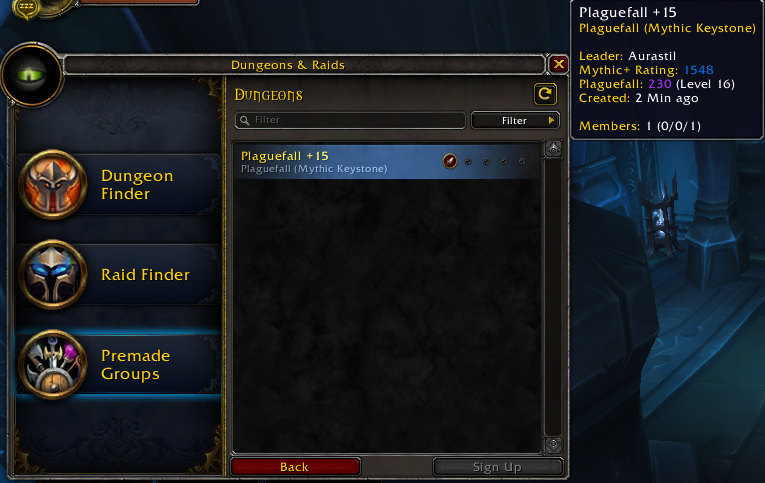 UI Showing Tooltip of Group Leader Mythic+ Rating for Plaguefall Dungeon